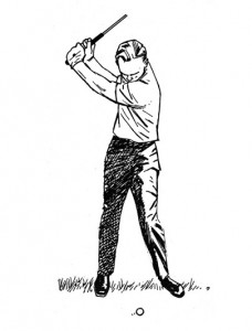 Limit your back swing and keep your leading arm straight for more consistent hits and Keep Arnie Happy.