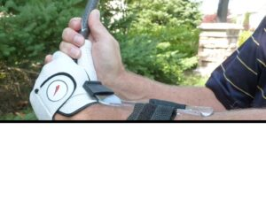 Lag Trainer Option #3: On your leading arm pointing to your thumb.