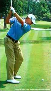Steve Stricker limits his straight arm swing for better control to hit more fairways and greens.