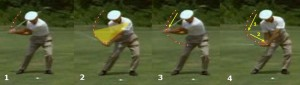 This shows Hogan with an aggressive thrust through the ball.