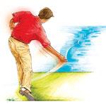 Skipping a stone golf swing