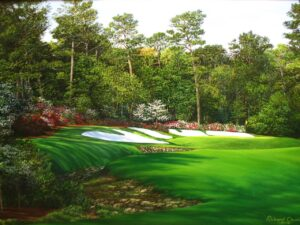 The 13th at Augusta National is probably the most beautiful of the holes on the course but also the most feared.  It;s noth'in for Bubba.