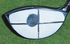 Your ideal Sweet Spot on your driver is just above and outside of the center of the clubface.