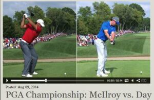 Rory McIlroy (on the right) showing a Wide Straight Arm Takeaway.  Jason Day (on the left) is showing his bent trailing arm creating wrist lag.
