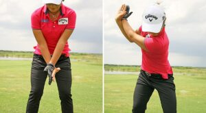 Pull your leading straight arm as you rotate your chest for an improved backswing.