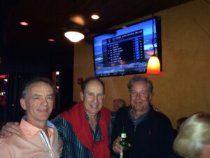 Will Curry in the middle watching Pebble Beach with Fans of GOLFSTR+ Pete and Andy in the Blue Martini, Naples, FL.