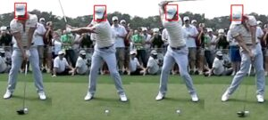 Adam Scott is shown here keeping his head in the same line-up with the ball during the backswing until impact.  This seems to be the ideal swing thought.