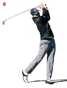 Jordon Spieth has a wonderful balanced finish with all of his weight on his leading leg.