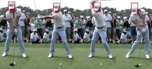 Swing without bobbing your head and with a straight leading arm for a consistent distance to the ball.