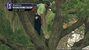 Sergio Garcia wants to avoid this big miss. Landing in a tree is much worse than hitting a tree.
