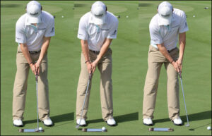 This old putting sequence of Rory McIlroy illustrates how he rocks his shoulders and finishes by swinging straight up the target line.