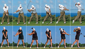 In golf you shift forward to a balanced finish over your leading leg.
